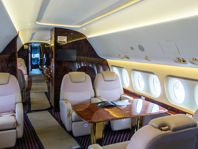 Interior of jet that would be customized through aircraft interior refurbishment center by high tech finishing in houston, texas.